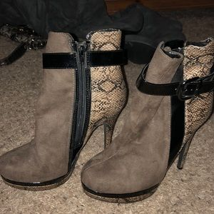 Grey and snake skin booties.